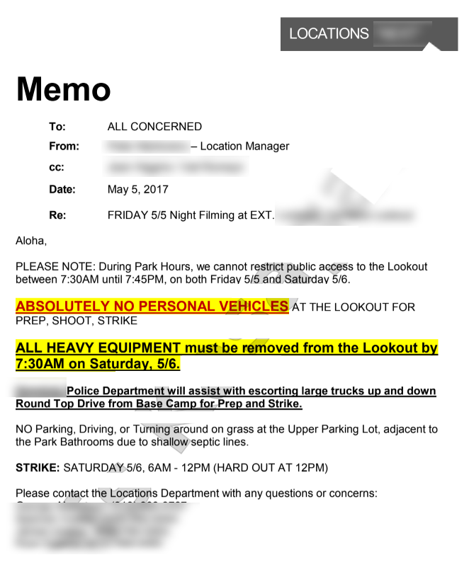 sample call sheet memo