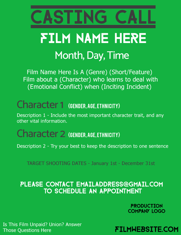 casting call template